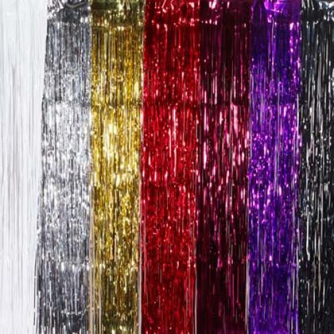 feestgordijn gemaakt van strookjes folie van 5mm, paars kunststof, 90 x 300 cm