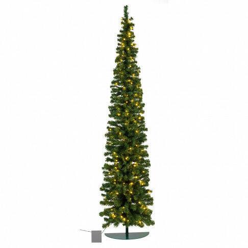 wandkerstboom pencil premium prelighted ruimtebesparend en met 144 warmwitte led lampjes, groen kunststof, 240 cm
