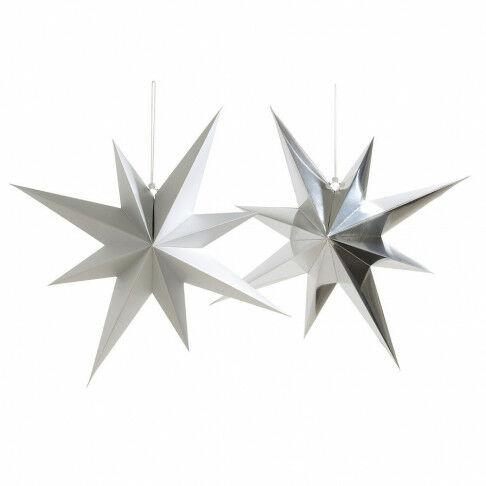 vouwsterren octa 3 met glanzende en 3 met matte finish, zilver karton, 70 cm