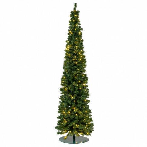 kerstboom pencil premium prelighted ruimtebesparend en met 312 warmwitte lampjes, groen kunststof, 300 cm