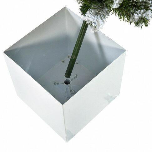 besneeuwde kerstboom voor buiten in verrijdbare metalen witte bak, groen kunststof, 200 cm