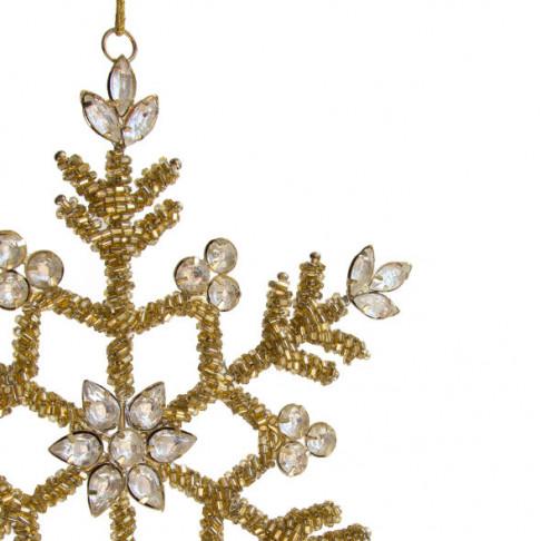 ornament sneeuwkristal bietz, small, met metaaldraad, goud glas, 19 cm