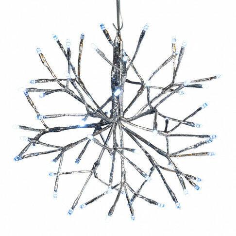 lichtbol met takjes 64 ijswitte en 8 flash led lampjes, uitgevouwen, zilver kunststof, 30 cm