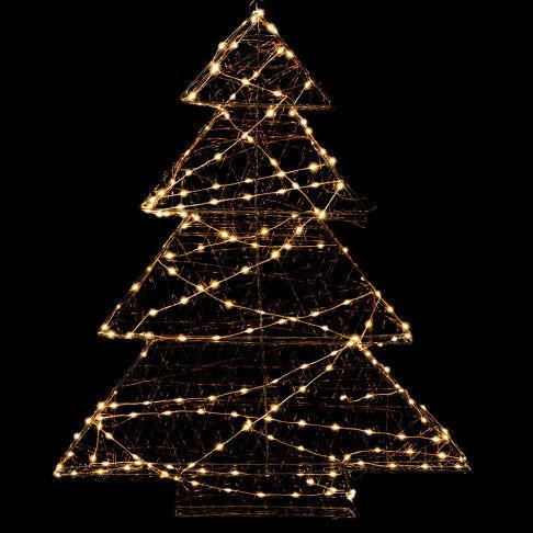 licht kerstboom 3d met 200 lampjes, warm wit licht, zwart metaal, 68 x 78 cm
