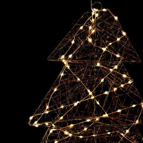licht kerstboom 3d, met 200 warm witte led lampjes, zwart metaal, 68 x 78 cm