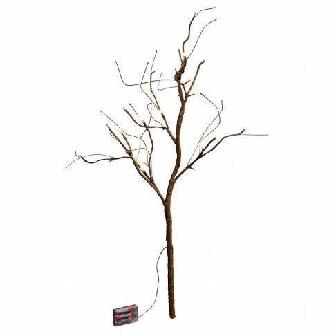 lichtset tak browny, 24 helder witte led lampjes op batterij (excl.), bruin kunststof, 90 cm