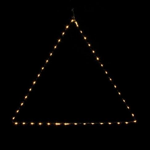 lichttriangel lino s, 47 warm witte led lampjes op koperdraad, zwart metaal, 50 x 50 x 50 cm