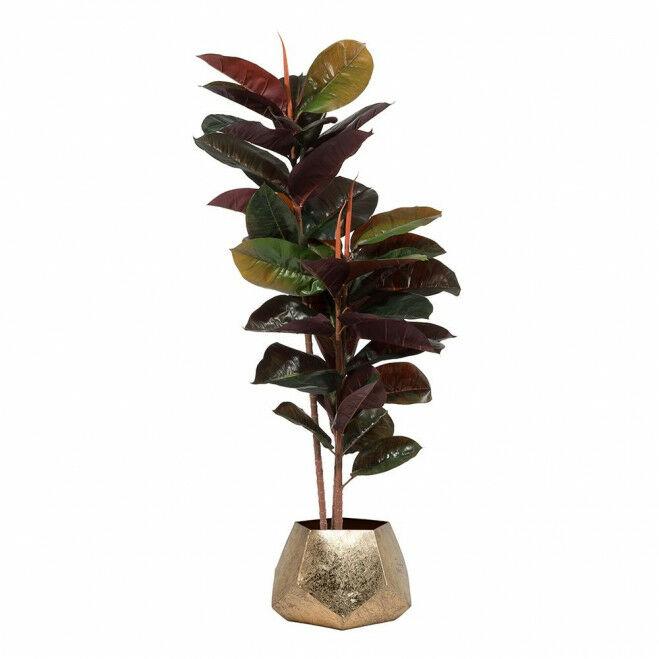 Kunstplant rubberplant met bloempot facetvlakken