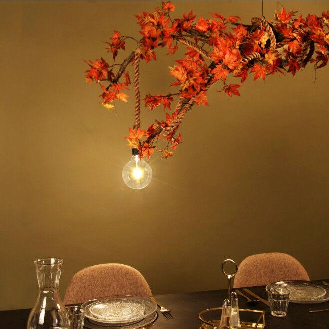Lamp met herfst decoratie