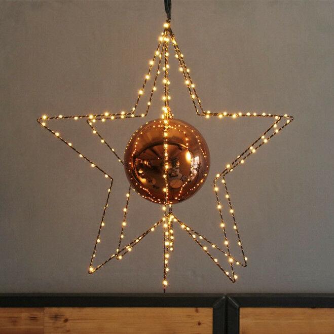 Lichtster 3D met kerstbal, 58 cm