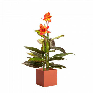 Artificial plant Canna Lily with orange square container