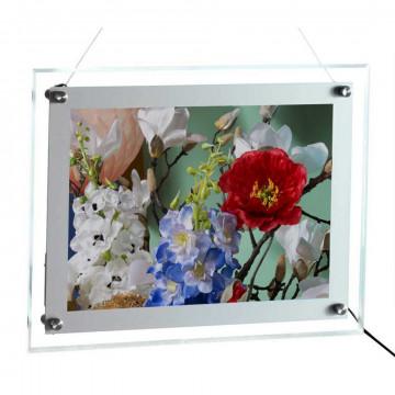 LEDdisplay Wall A4 zichtmaat zilv. kader 285x200mm, zilver kunststof, A4, 36.8 x 28.1 cm