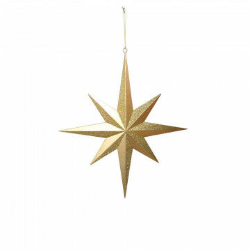 ornament star, medium, 3d shaped, partly with glitters, gold synthetic, 40 x 35 cm
