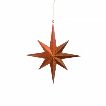 ornament star, medium, 3d shaped and partly provided with glitters, copper synthetic, 40 x 35 cm