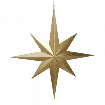ornament star, large, 8 points star, 3d shaped, partly glitters, gold synthetic, 60 x 55 cm
