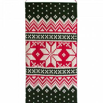 banier classic christmas, met buisje in zoom en doorgevoerd koord, rood textiel, 200 x 100 cm